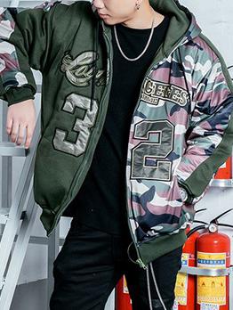 Warm Letter Camouflage Patchwork Winter Jacket