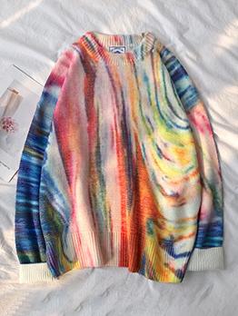 Multicolored Long Sleeve Crew Neck Sweater