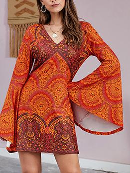 Sexy Printed V Neck Flare Sleeve Mini Dress
