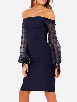 Trendy Patchwork Long Sleeve Off The Shoulder Dress