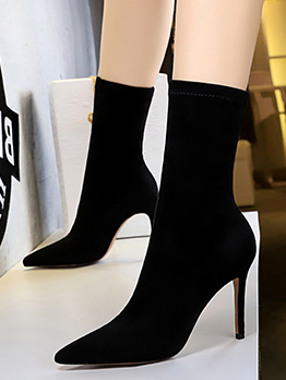 Suede Pointed Black Sock Boots For Women