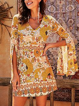 V Neck Flare Sleeve Floral Mini Dress
