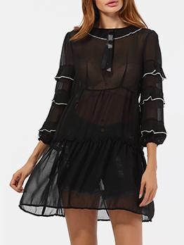 Sexy Perspective Chiffon Black Long Sleeve Dress