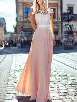 Elegant Lace Panel Backless Long Prom Dress