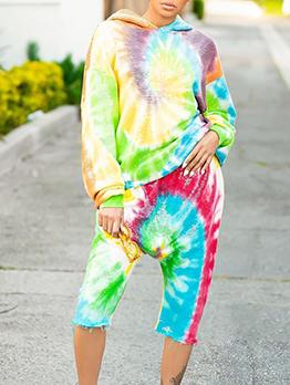 Multicolored Tie Dye Hooded Two Piece Trouser Set