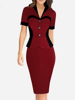 V Neck Patchwork Short Sleeve Dress