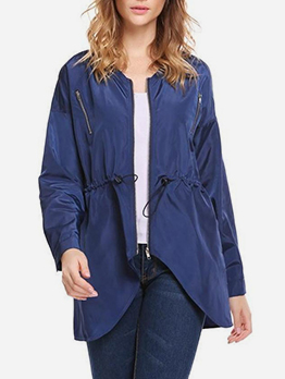 Simple Style Solid Color Waist Drawstring Ladies Coats