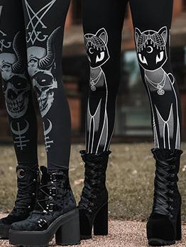Gothic Skull Printed Elastic Black Pants