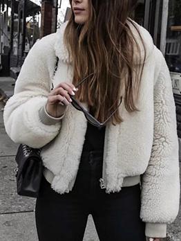 Pure Color Turn Down Neck Fur Coat Women