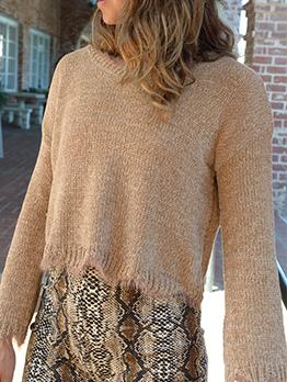 Minimalist Pure Color Women Short Sweater For Autumn