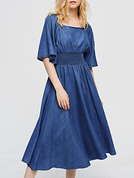 Casual Elastic Waist Solid Denim Midi Dress