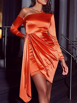 Inclined Shoulder Irregular Orange Long Sleeve Dress