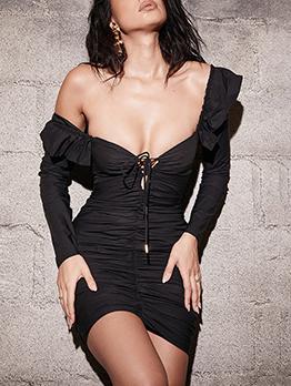 Deep V Neck Off Shoulder Bodycon Mini Dress