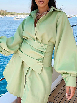 Single-Breasted Lantern Sleeve Green Shirt Dress