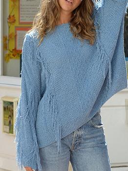 Autumn Tassel Edge Loose Crew Neck Sweater In Blue