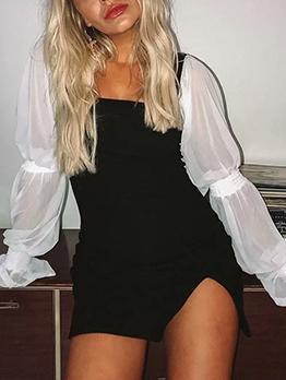 Square Neck Contrast Color Long Sleeve Mini Dress