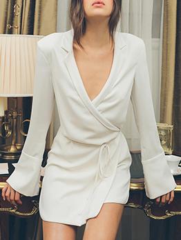 Lapel Collar Flare Sleeve Solid Wrap Dress