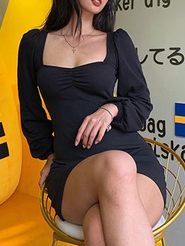 Low-Cut Lantern Sleeve Solid Bodycon Short Dress