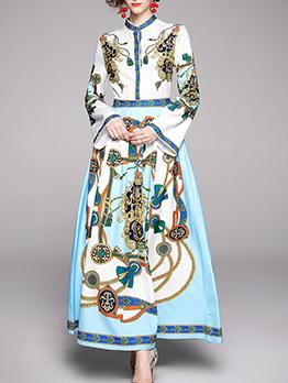 Autumn Contrast Color Printed Ladies Maxi Dresses