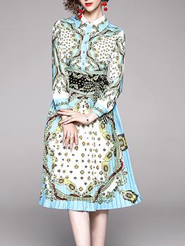 Tunic Slim Printed Pleated Shirt Dress