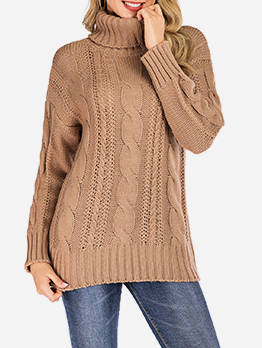 Easy Matching Turtle Neck Knit Sweater For Women