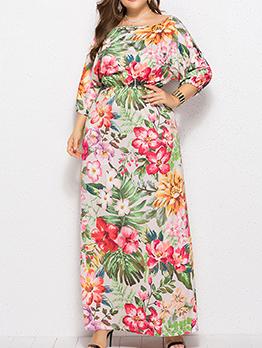 Euro Smart Waist Floral Maxi Dress