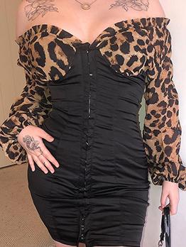 V Neck Leopard Patchwork Bodycon Dress
