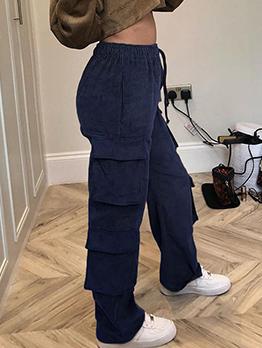 High Waist Drawstring Pocket Corduroy Cargo Pants