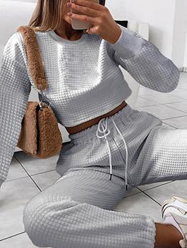 Square Design Long Sleeve Cropped 2 Piece Pants Set