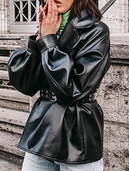 Punk Style Turndown Collar Leather Coat