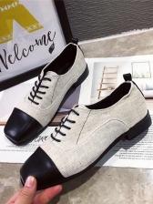 Vintage Square Toe Plaid Lace Up Womens Flats