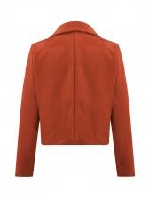 Turndown Neck Pure Color Button Up Woolen Short Coat