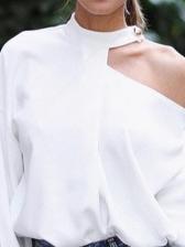 Cut Out Shoulder Long Sleeve White Blouse
