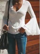 V Neck Flare Sleeve Solid Long Sleeve T Shirt