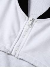 Stitching Color Drawstring Ultra Short Cropped Sweatshirt