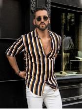 Turndown Collar Striped Long Sleeve Shirts