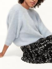 Back Twist Pure Color Short Sweater
