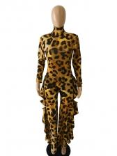 High Neck Side Ruffles Leopard Print Wide Leg Jumpsuit