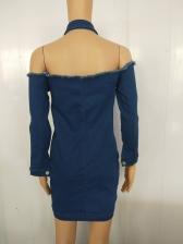 Sexy Halter Off Shoulder Long Sleeve Denim Dress
