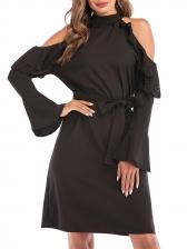 Tie Wrap Cold Shoulder Black Long Sleeve Dress