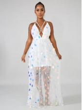 Sexy Backless Sequin Sleeveless Maxi Dress