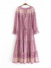 Swing Tie Wrap Long Sleeve Floral Dress