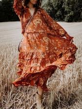 Bohemian Long Sleeve V Neck Floral Dress