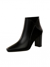 PU Square Toe Chunky Heel Ankle Boots