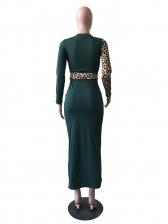Leopard Patchwork Lace Up Casual Maxi Dresses