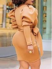 Puff Sleeve V Neck Bow Bodycon Dress