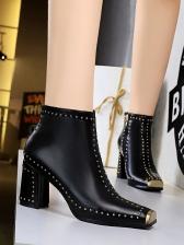 Metal Splicing Rivet Night Club Womens Ankle Boots