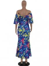 Flower Printed v Collar Short Sleeve Maxi Dress