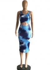Sexy Tie Dye Cut-Out Sleeveless Midi Dress