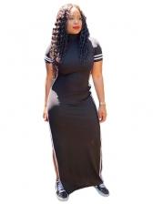 Stripe Hollow Out Split Short Sleeve Maxi Dress